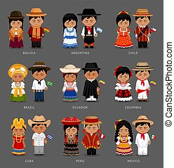 Latin American people in national dress.