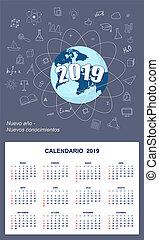 Latin-American student calendar for wall 2019