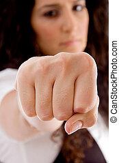 latin american woman showing punch