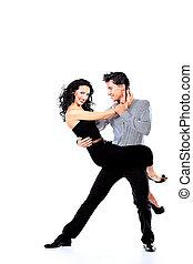 latin - Beautiful couple of professional artists dancing ...