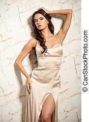 latin beauty - Beautiful young woman in elegant evening...