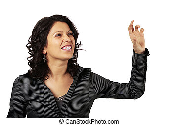 Latin Business Woman Reaching Out For Something In Front Of Her