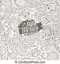 latin, cadre, hand-drawn, américain, doodles, dessin animé