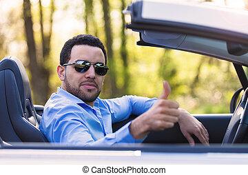 latin, chauffeur, jeune, haut, américain, noir, pouces, confection