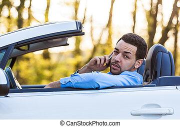 latin, conduite, chauffeur, jeune, téléphone, quoique, appeler, confection, américain