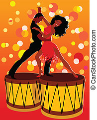 Vector illustration of a adult couple dancing Latin dance on a pair of bongo drums, no transparencies