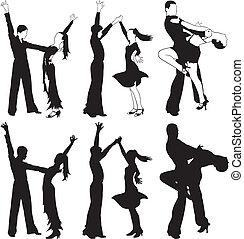 latin dance, ballroom dancing - silhouettes of dancers,...