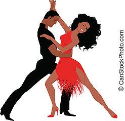 Latin dance - Sexy Latino couple dancing, vector...