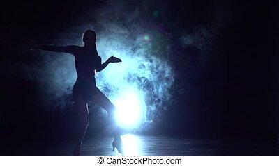 latin, danse, danse, silhouette., mouvement, lent, girl, studio