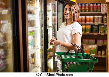 latin, femme, supermarché, mignon