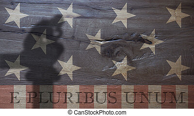 Latin for Out of Many One. Usa Flag on Durmast - E Pluribus...