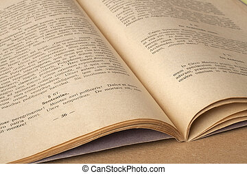 latin, gammal, språk, -, bok, öppna