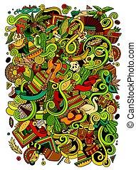 latin, hand-drawn, ábra, amerikai, doodles, karikatúra