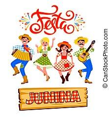 latin, juin, illustration, vacances, américain, vecteur, fête, brazil.