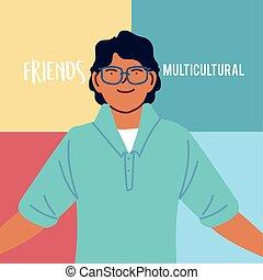 latin man cartoon with glasses vector design