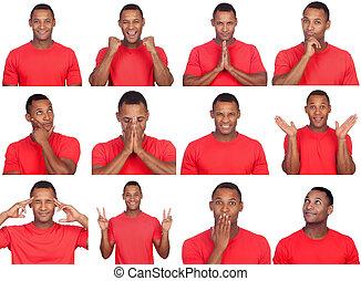 latin, man, med, olik, gestures.