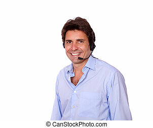 Latin man speaking on headphones with microphone
