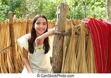latin, mexicain, maison, maya, indien, jungle, girl, cabine