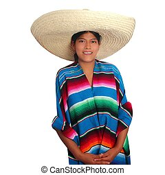 Latin mexican hispanic sombrero poncho woman isolated on...
