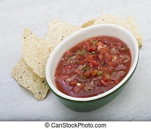 latin, mexikói, hagyományos, amerikai, salsa, szósz