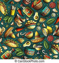 latin, mexikói, motívum, amerikai, seamless, hand-drawn, ...