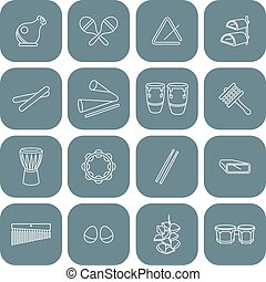Latin Percussion Instruments Icons - Vector drawing of a set...