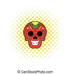 Latin skull icon, comics style