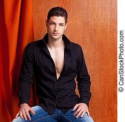 Latin spanish man portrait open black shirt