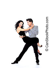 latin - Beautiful couple of professional artists dancing...