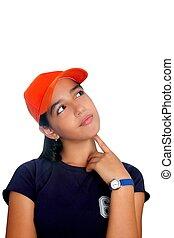 Latin teen hispanic pensive girl orange cap isolated on white