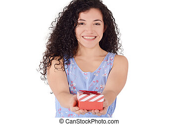 Latin woman giving red gift box