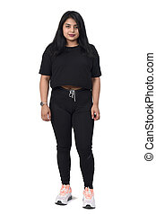 latin woman with sportswear on white background