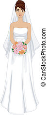Latina Bride - Illustration of a Lovely Latina Bride in Her...
