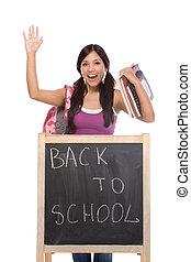 latina, estudante universitário, por, quadro-negro