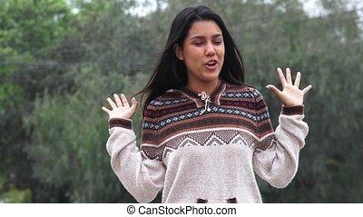 Latina Hispanic Girl Talking Wearing Sweater Cold Weather