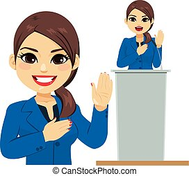 Female latina politician making an oath promise