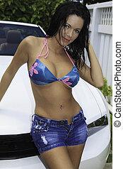 latinamerikanskt kvinde, hos, hende, nye, sportscar