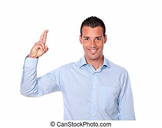 latinamerikanskte, luck, holdning, gestus, mand