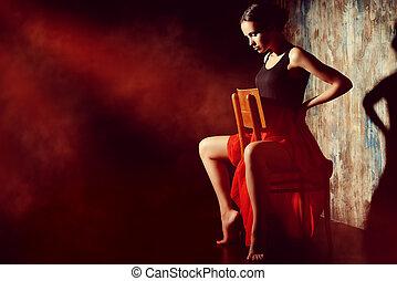 latino art - Art portrait of a beautiful Spanish girl. Latin...