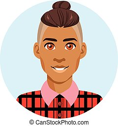 Latino Avatar Portrait - Young attractive latino hipster man...