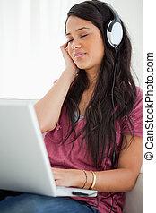 latino, avnjut, musik studerande, närbild