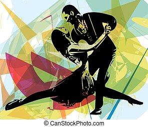latino, bailando, pareja