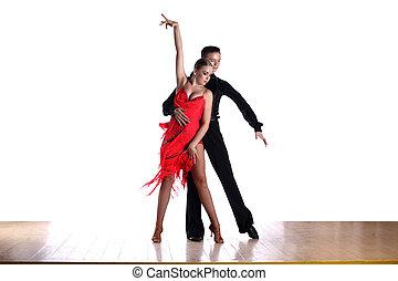 latino, blanc, danseurs, isolé, salle bal