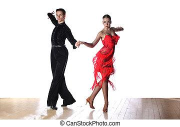 latino, blanco, bailarines, aislado, salón de baile
