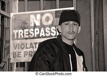 Latino Boy - Black and White Portrait - No Trespassing - A...