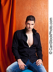 latino, camicia, nero, spagnolo, ritratto, aperto, uomo