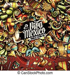 latino, cornice, hand-drawn, americano, doodles, cartone animato