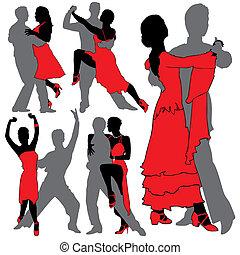latino, dançarinos, silhuetas, jogo
