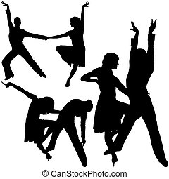 Latino Dance Silhouettes 02 - detailed illustrations