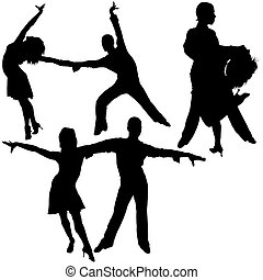 Latino Dance Silhouettes 05 - detailed illustrations